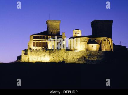 Night view of Monterrey castle, Verin. Orense province, Galicia, Spain - Stock Photo