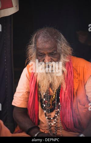 Close-up of a sadhu at Maha kumbh, Allahabad, Uttar Pradesh, India - Stock Photo