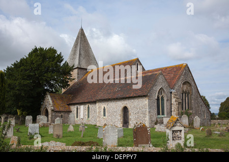 St. Peter's Church in the village of Rodmell, near Lewes, East Sussex, England - Stock Photo