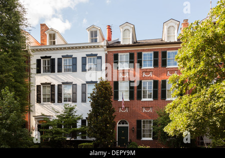 Cox's Row - group of five Federal houses, named after Colonel John Cox, mayor of Georgetown, Washington DC, USA - Stock Photo