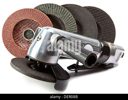 air angle grinder and different grinding wheels on white background - Stock Photo