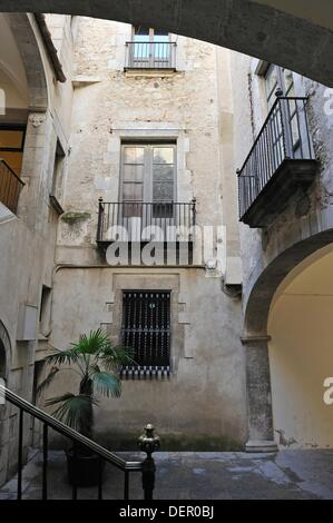 inner courtyard in the old town Girona, Autonomous community of Catalonia, Spain, Europe - Stock Photo