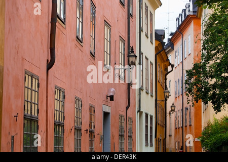 Colorful buildings in the old town / Gamla Stan of Stockholm, Sweden, Europe - Stock Photo