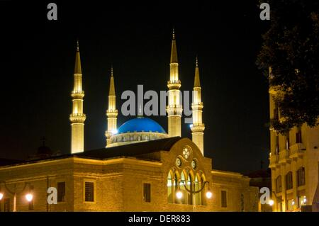 St George´s Church and Mohammed el-Amin mosque in downtown Beirut, Lebanon - Stock Photo