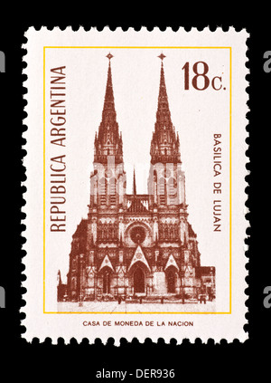 Postage stamp from Argentina depicting Lujan Basilica. - Stock Photo