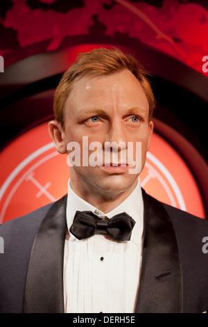 Daniel Craig as James Bond wax figure in Madame Tussauds Amsterdam, Holland, Netherlands. - Stock Photo