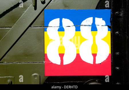 number eighty eight on old military vehicle - Stock Photo