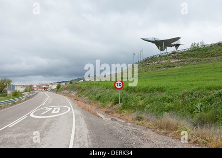 Monument to local military aviation pioneers in the villiage of Antigüedad - Province of Palencia, Castile and León, - Stock Photo