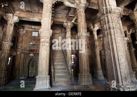 Interiors of a mosque, Jhulta Minara, Ahmedabad, Gujarat, India - Stock Photo