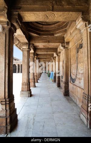 Corridor of a mosque, Jama Masjid, Ahmedabad, Gujarat, India - Stock Photo