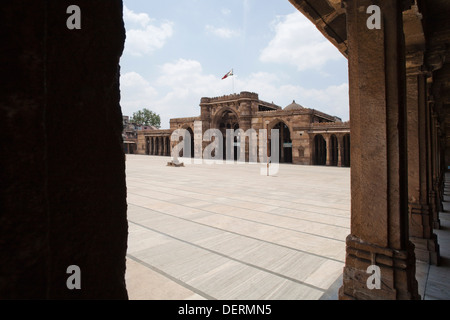 Facade of a mosque, Jama Masjid, Ahmedabad, Gujarat, India - Stock Photo