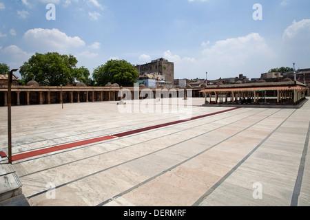 Courtyard of a mosque, Jama Masjid, Ahmedabad, Gujarat, India - Stock Photo