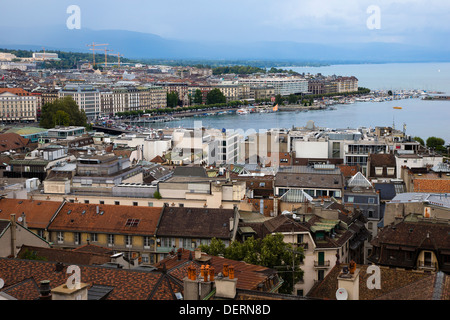 Aerial view of Geneva taken from a tower of the Cathedrale Saint Pierre (Saint Peter Cathedral), Geneva - Stock Photo