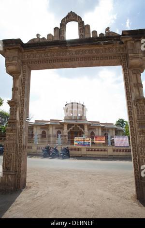 Entrance gate of a temple, Iskcon Temple, Ahmedabad, Gujarat, India - Stock Photo