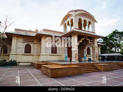 Facade of a temple, Iskcon Temple, Ahmedabad, Gujarat, India - Stock Photo