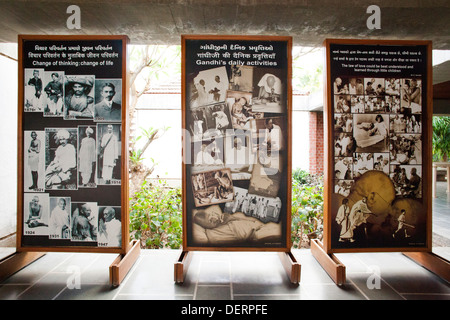 Pictures of Mahatma Gandhi in a museum, Sabarmati Ashram, Ahmedabad, Gujarat, India - Stock Photo