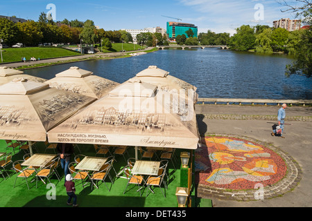 Cafe at Lower Pond, Kaliningrad, Russia - Stock Photo
