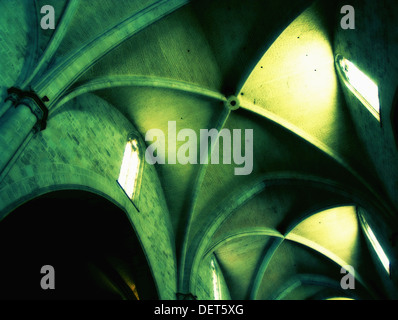 Gothic vault. Metropolitan Basilica Cathedral of St. Mary (Cathedral of Valencia). It´s construction began in 1262 - Stock Photo