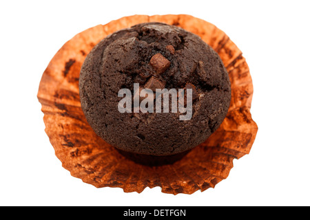 Double choc chocolate bun muffin in its wrapper - Stock Photo