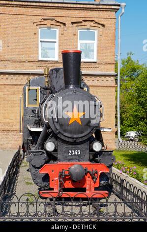 Russia. Yekaterinburg. The first Soviet-era locomotive built in 1926 - Stock Photo