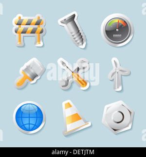 Sticker button set. Icons for industry, construction and energy. - Stock Photo