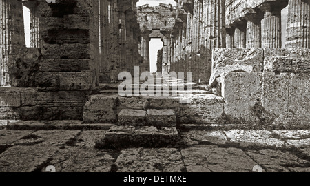 Temple of Neptune (5th century BC) at Paestum, Campania, Italy - Stock Photo