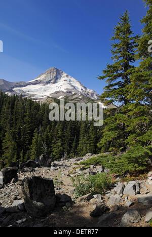 east face of Mount Hood volcanoe, Cascade Range, Oregon, USA - Stock Photo