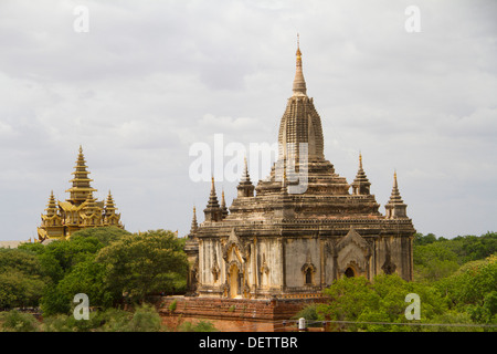 A view of temples from Thatbyinnyu temple in Old Bagan. - Stock Photo