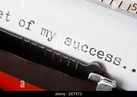 Old fashioned typewriter with the phrase secret of my success, good for business presentation - Stock Photo