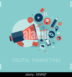 Stylish illustration of megaphone with cloud of colorful application icons on media theme. Digital marketing concept. - Stock Photo