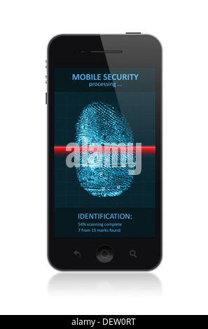 High quality illustration of modern smartphone with process of scanning fingerprint on a screen. Isolated on white - Stock Photo