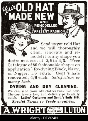 Original 1920s advertisement advertising remodeling of old hats for present fashion, consumer magazine advert circa - Stock Photo