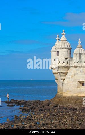 Belem Tower (Torre de Belém) built by Francisco de Arruda, Lisbon, Portugal - Stock Photo