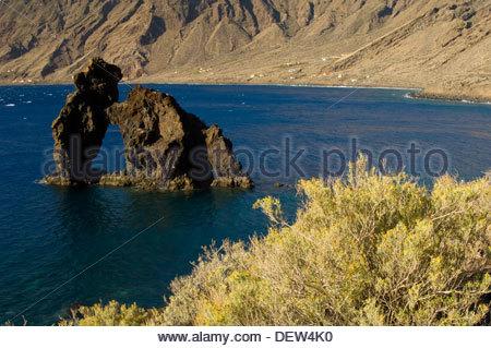 Roque de La Bonanza. Las Playas Natural Monument. Valverde. Island of El Hierro. Canary Islands. Spain. - Stock Photo