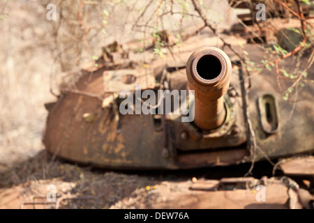 Destroyed northern Sudanese tank, Juba-Bor road, southern Sudan, December 2010 - Stock Photo