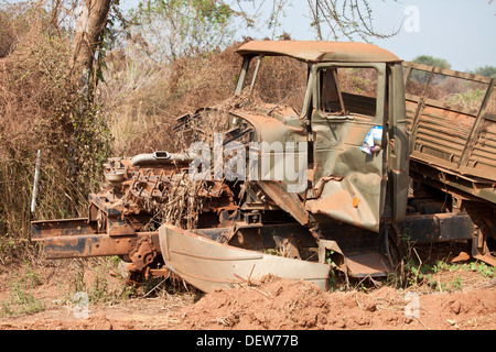 destroyed northern Sudanese troop carrier with separation vote paper glued to door, Juba-Bor road, Southern Sudan, - Stock Photo