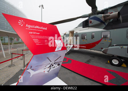 Excel, London, UK. 24th Sept, 2013. Helitech International opening day, the only European show focused 100% on helicopters - Stock Photo
