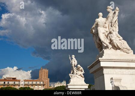 The statues in front of the Altar of the Fatherland, Rome, Lazio, Italy, Europe - Stock Photo