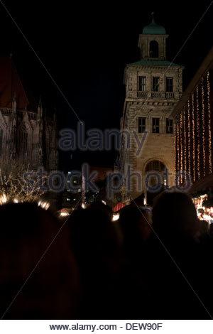 Famous Christmasmarket in Nuremberg in the evening. Abendstimmung auf dem  Nürnberger Weihnachtsmarktt - Stock Photo