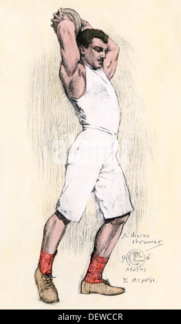 Discus thrower in the Athens Olympic Games, 1896. Hand-colored woodcut - Stock Photo