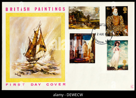 First Day Cover celebrating British Paintings. - Stock Photo
