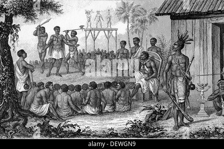 West Africa. Human sacrifices of the Cassange negroes. Guardian. Engraving. - Stock Photo