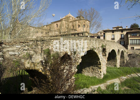 Spain  Vic  Old Town with the Cathedral and the Roman Bridge - Stock Photo