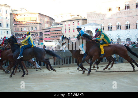 palio of siena, the start, siena, tuscany, italy, europe - Stock Photo
