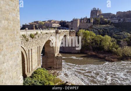 Bridge of San Martín on Tagus river. Toledo. Spain - Stock Photo