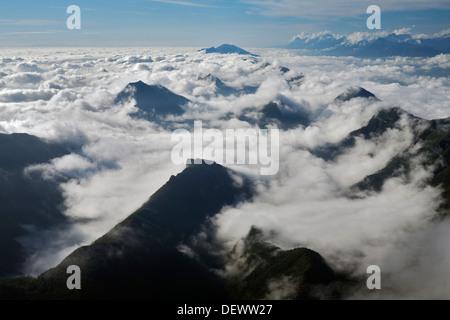 View from 'El Cerro de la Silla' across La Silla National Park near Monterrey, Mexico. - Stock Photo
