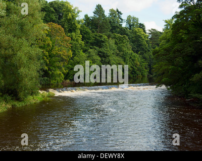 Weir in River Eden at Appleby-in-Westmorland - Stock Photo