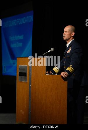 Rear Adm. Charles Ray, deputy commander of Coast Guard Pacific Area, delivers remarks at the Coast Guard Foundation's - Stock Photo