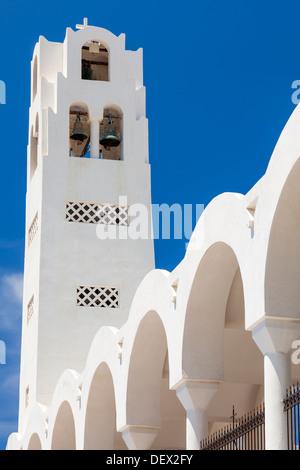 Bell tower on the Orthodox Metropolitan Cathedral Fira (Thira) Santorini Greece - Stock Photo