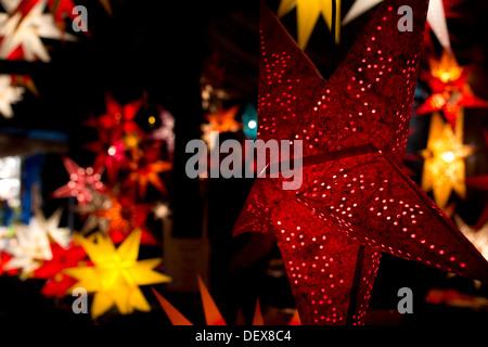 Famous Christmasmarket in Nuremberg in the evening. Abendstimmung auf dem  Nürnberger Weihnachtsmarkt - Stock Photo